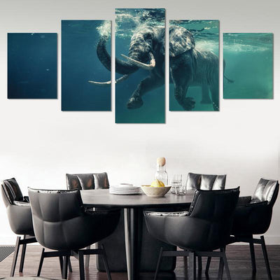 Swimming Elephant Canvas Wall Art - Canvas Monsters