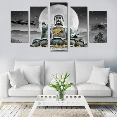 5PCS  Buddha In The Moon Canvas Wall Art - Canvas Monsters