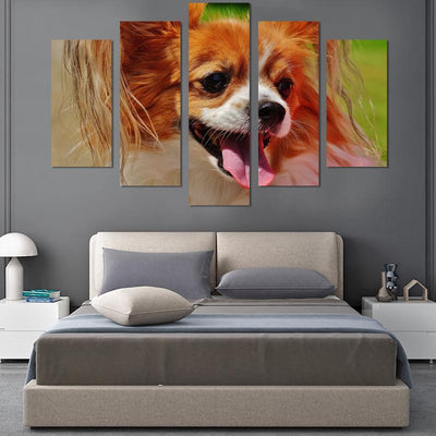 5PCS Smiling Dog Canvas Wall Art