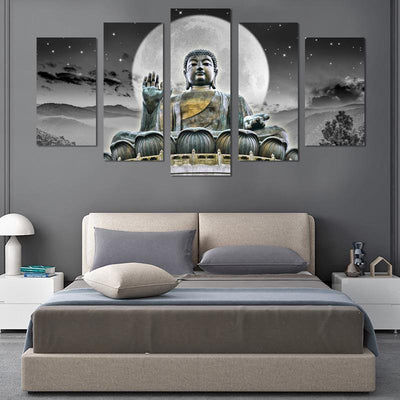 5PCS  Buddha In The Moon Canvas Wall Art