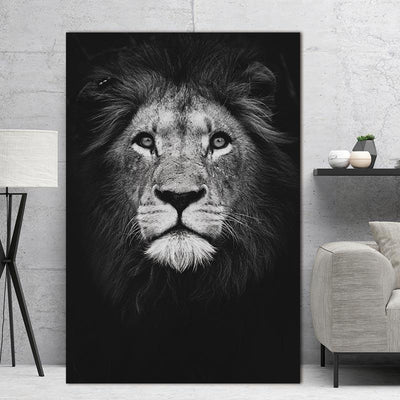 Black & White Lion Canvas Print - Canvas Monsters