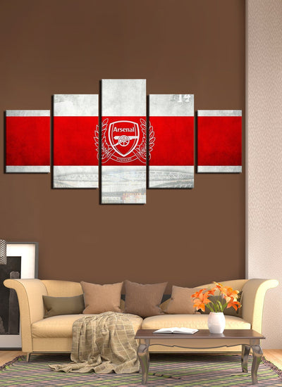White Red Arsenal Canvas Wall Art