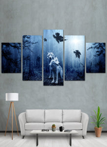 Two Wolf In Forest Canvas Wall Art