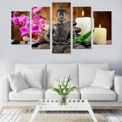 5PCS  Meditating Buddha With Candle Canvas Wall Art