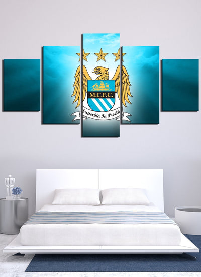 Shining Manchester City Flag Canvas Wall Art