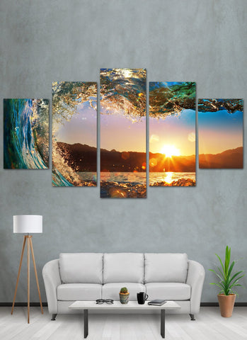 Image of Sunset Through Wave Canvas Wall Art