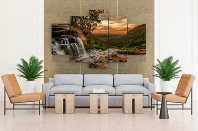 Sunset Waterfall & Stone - Canvas Monsters