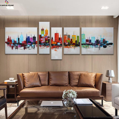 Image of Abstract colorful city view  hand made oil painting on canvas