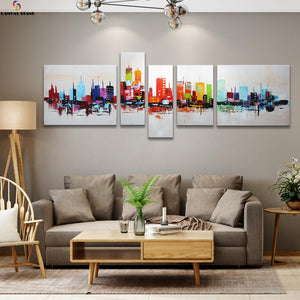 Abstract colorful city view  hand made oil painting on canvas