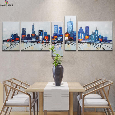 Abstract colorful city view 2 hand made oil painting on canvas