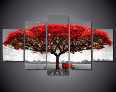 Red Leaf Tree With Chair - Canvas Monsters