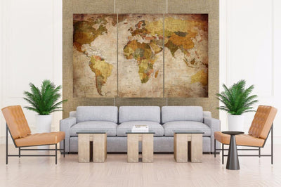 Vintage World Map - Canvas Monsters