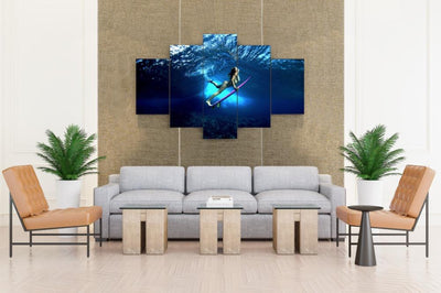 Surfing Under The Water - Canvas Monsters