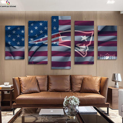 New England Patriots US Flag canvas prints - Canvas Monsters
