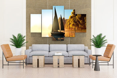 Sailing Autumn Yacht Coast Trees - Canvas Monsters