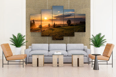 Scenery Sunrises And Sunsets Sky Grass Clouds Sun - Canvas Monsters
