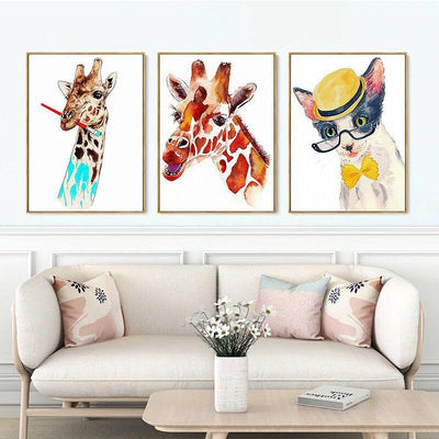 3 PCS Giraffe & Cat Wall Art