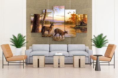 Deer At Forest Lake - Canvas Monsters