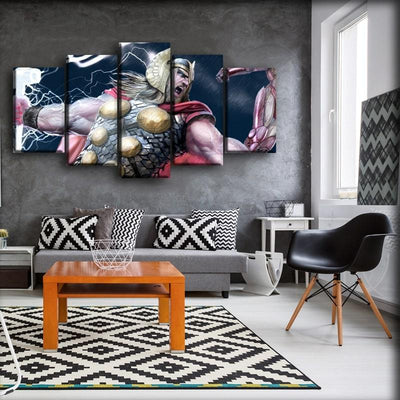 Thor - God of Thunder In Action - Canvas Monsters