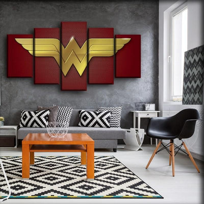 Wonder Woman - Gold Logo In Red Background - Canvas Monsters