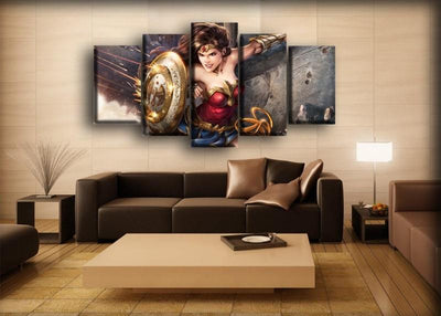 Wonder Woman - Using The Shield - Canvas Monsters