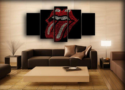The Rolling Stone - Dotted Mosaic Tongue - Canvas Monsters