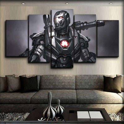 War Machine - Black And Silver Background - Canvas Monsters