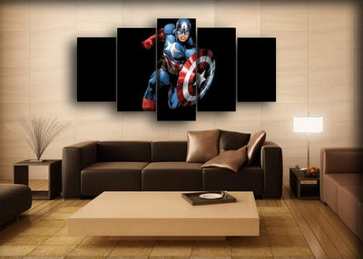 Captain America - Cartoon Black Background - Canvas Monsters