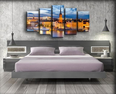 Coast Evening Houses Sweden Stockholm Tower - Canvas Monsters