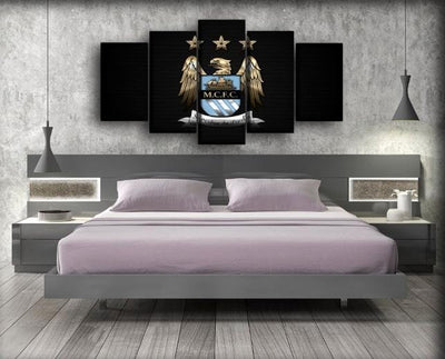 Manchester City - Black Background - Canvas Monsters