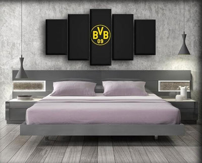 Borussia Dortmund - Simplified Logo Black Background - Canvas Monsters