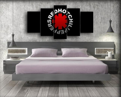 Red Hot Chili Peppers - Logo in Black Background - Canvas Monsters