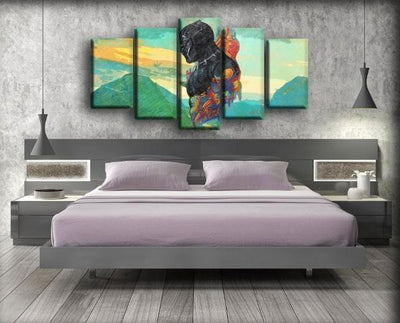 Black Panther - Wakanda Mountain Art Work Background - Canvas Monsters