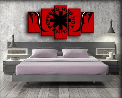 Red Hot Chili Peppers - Red Background Logo - Canvas Monsters