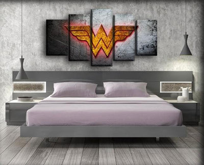 Wonder Woman - Scratched Metal Background - Canvas Monsters
