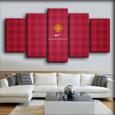 Manchester United - Maroon Checkered Background - Canvas Monsters