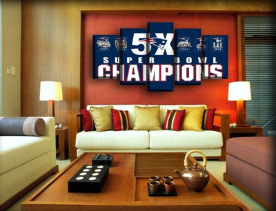 New England Patriots - 5X Champions - Canvas Monsters