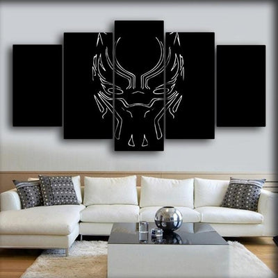 Black Panther - Silhouette White Mask - Canvas Monsters
