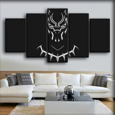 Black Panther - Silhouette White Profile - Canvas Monsters