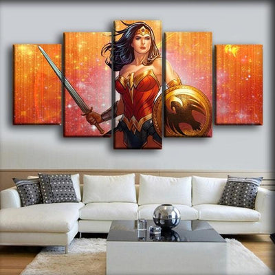 Wonder Woman - Shades of Orange Background - Canvas Monsters