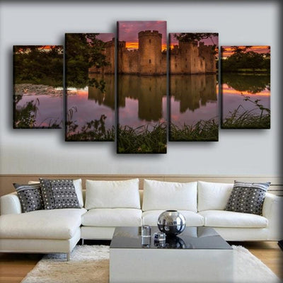 England Castles Evening Pond Bodiam Castle