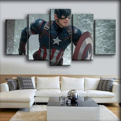 Captain America - Running In The Winter - Canvas Monsters