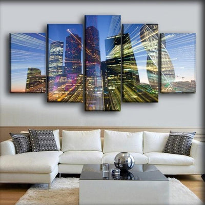 Moscow Russia Houses Skyscrapers Rays of light - Canvas Monsters