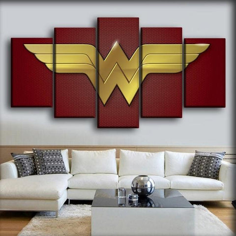 Wonder Woman - Gold Logo In Red Background