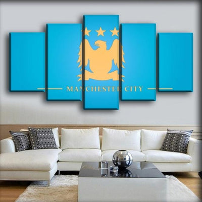 Manchester City - Powder Blue Background - Canvas Monsters