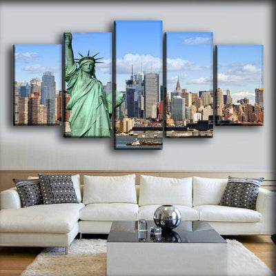 USA Houses Statue of Liberty New York City - Canvas Monsters