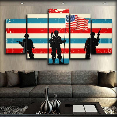 Military Veteran - American Flag Background - Canvas Monsters