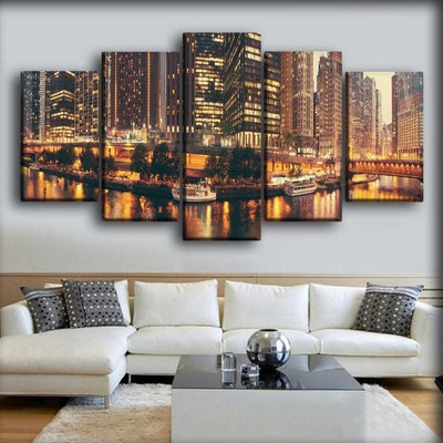 USA Houses Skyscrapers Evening Bridges Marinas - Canvas Monsters