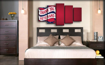 Military Veteran - Thank You Veterans Maroon Background - Canvas Monsters
