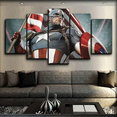Image of Captain America - Holding The Flag